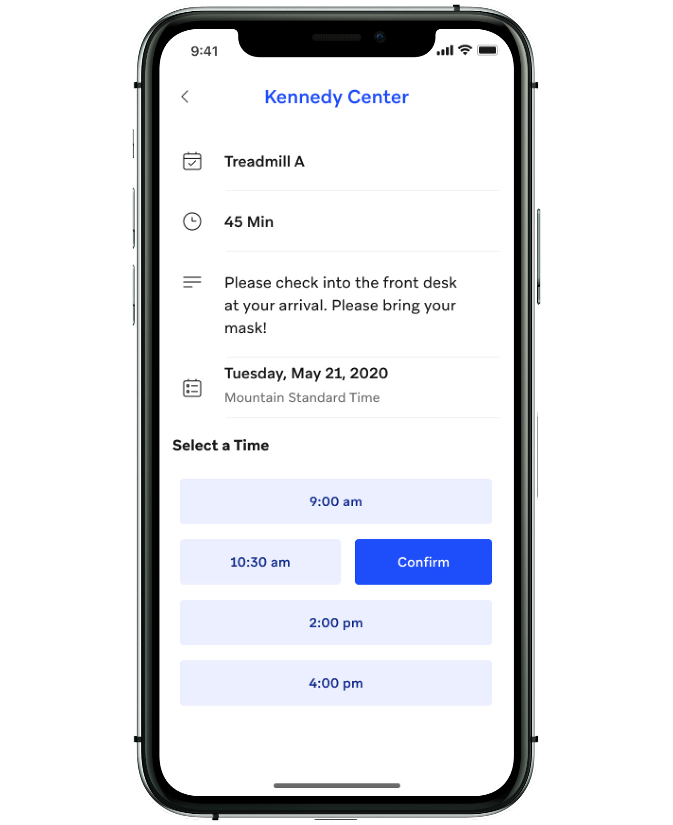 Space booking feature on the app