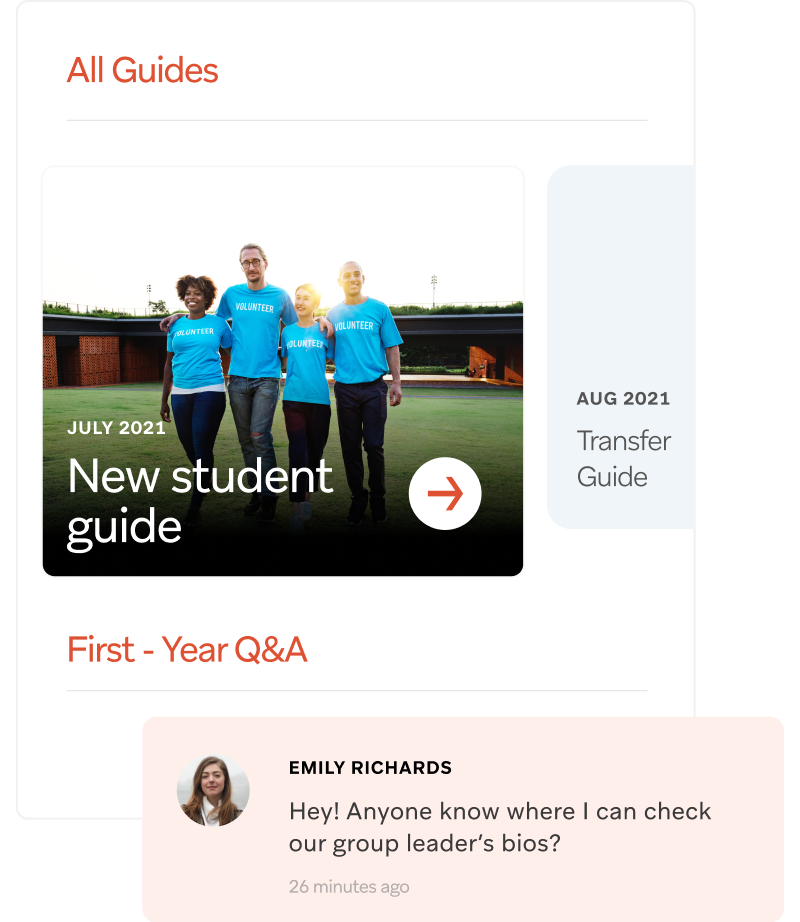 Personalized student orientation dashboard on mobile