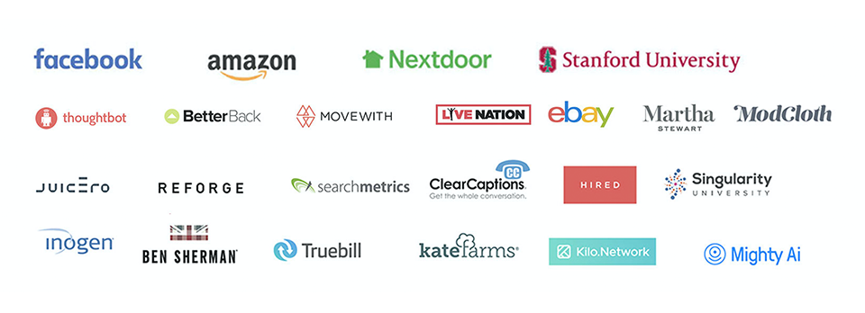 Featured Clients Facebook Amazon Nextdoor Stanford University Modcloth ebay singularity