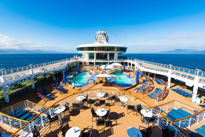 Photo of a cruise ship deck and pool area
