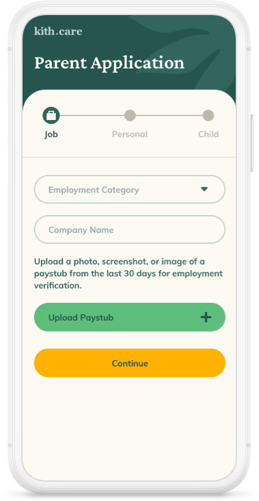 kith.care Parent Application product screenshot with form fills.
