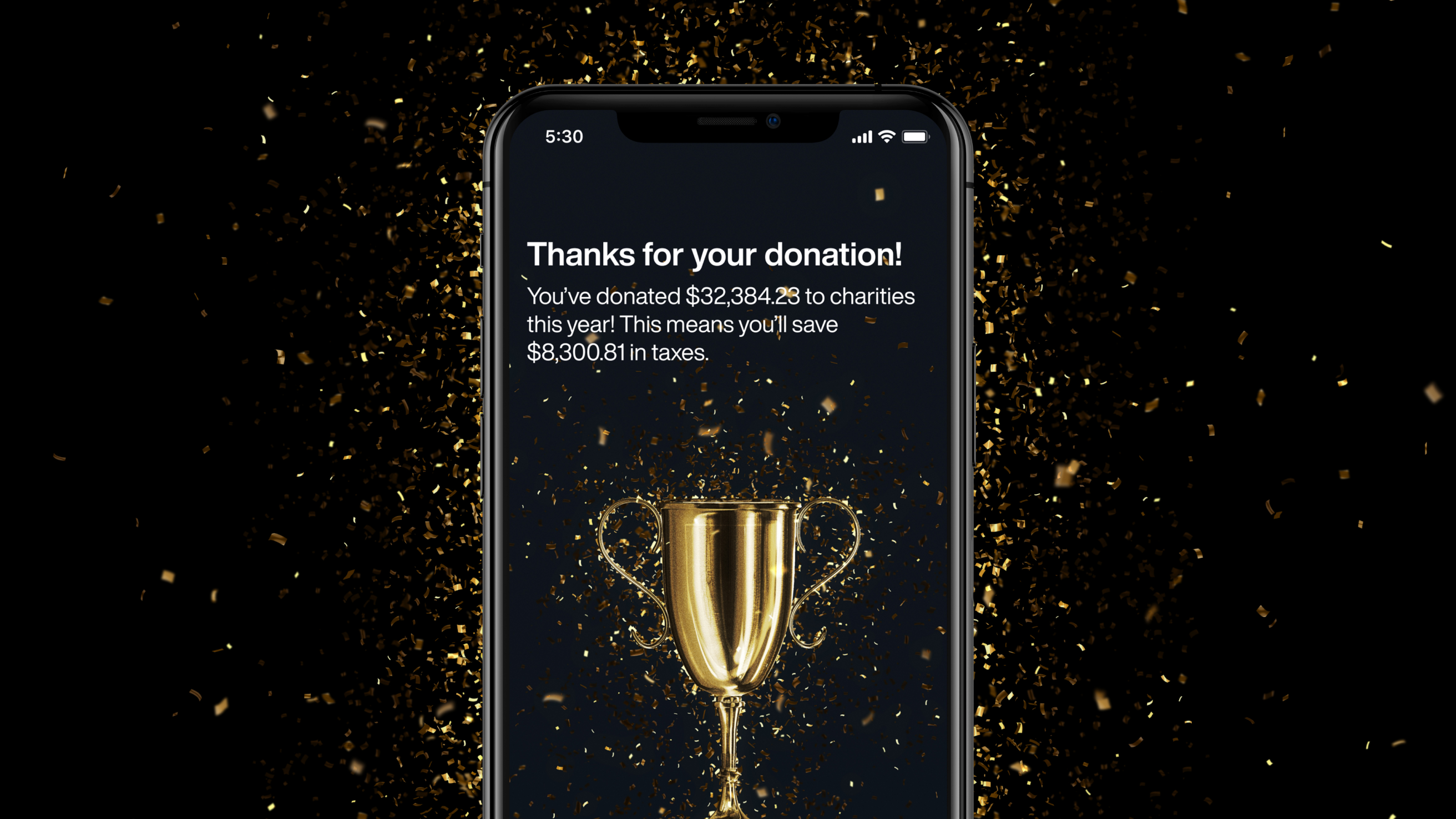 A large donation made through an Overflow app