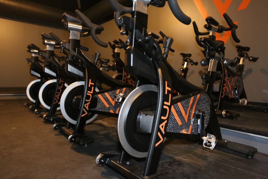 Vault's cycling studio with bikes