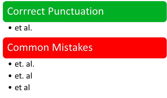 """""""Et Al."""" Punctuation"""