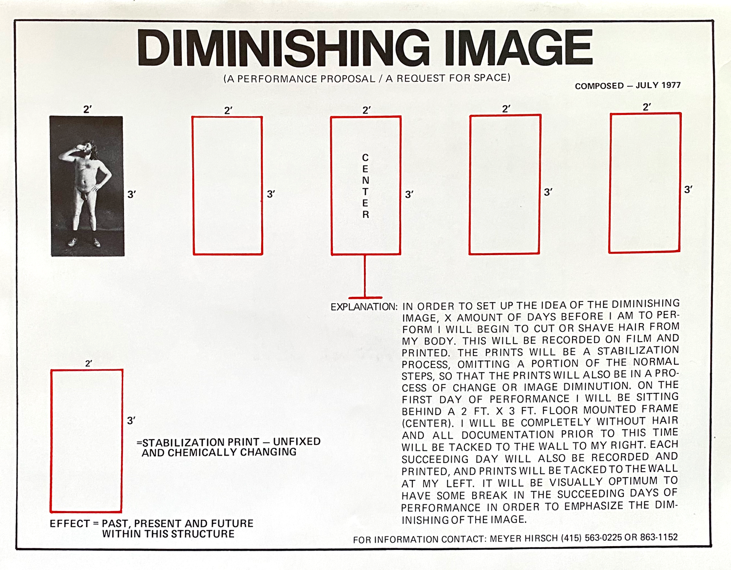 Diminishing image, conceptual art piece directions