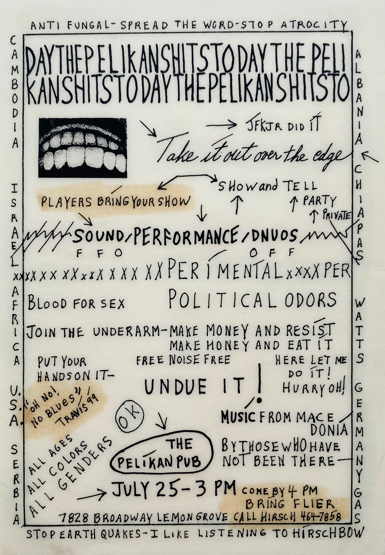 handmade flyer for experimental music performance, San Diego