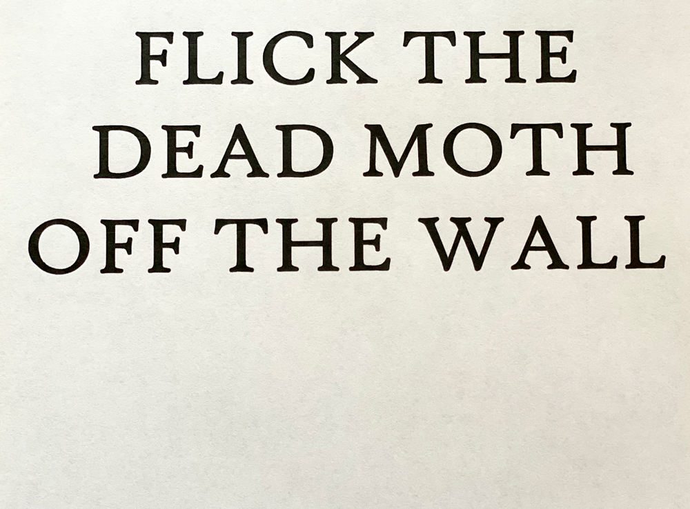 Serif type reads: Flick the dead moth of the wall