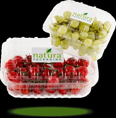 Obst- & Gemüse natürliche Frischhalteboxen von Naturapackaging für Trauben und Cherry Tomaten