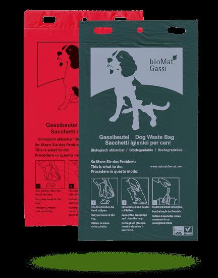 Nedbrytbar hundepose i grønn og rød