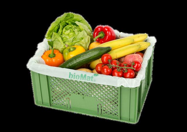 Ausgekleidete Obst und Gemüsekiste mit kompostierbare Biomat Auskleidesäcke