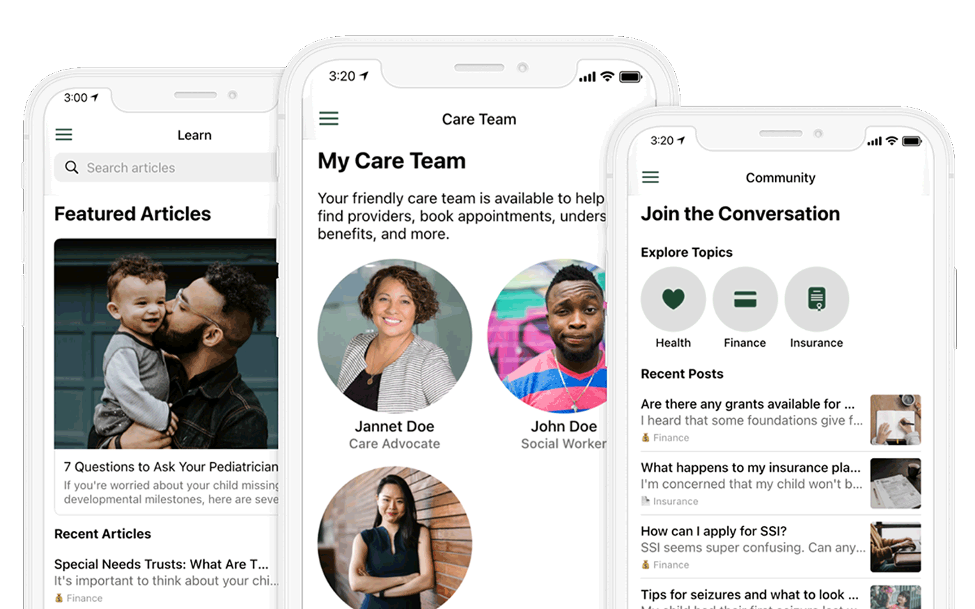 Three screenshots of Wayfinder's mobile app, which features on-demand care coordination services, a library of content, and a peer support community.