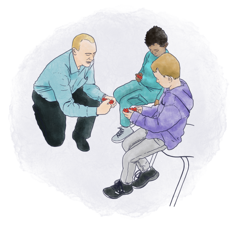 Illustration of DMTI founder Jonathan Brendefur working with students
