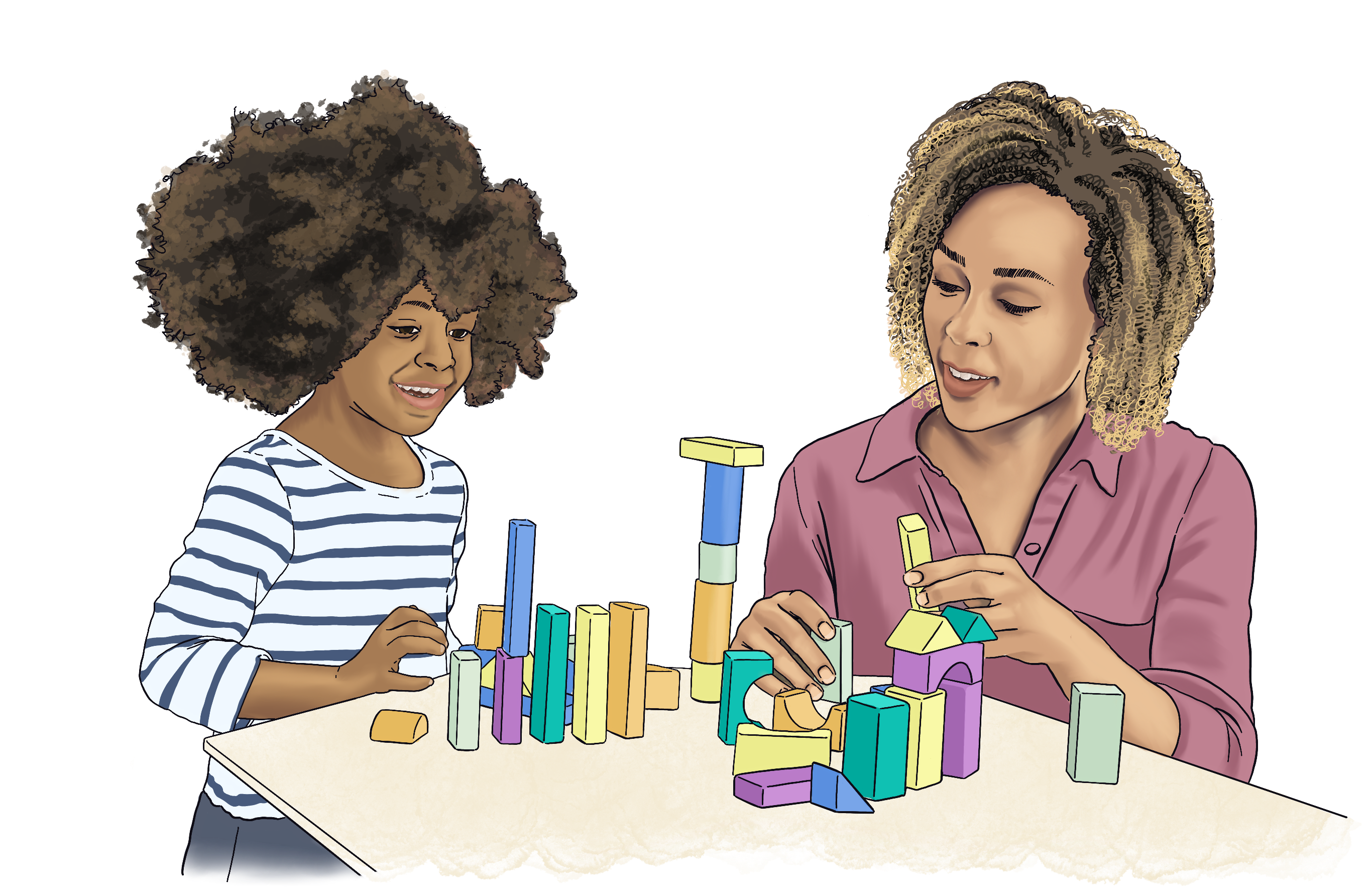 Illustration of a mother working with her daughter