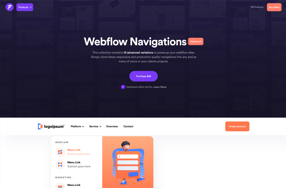 Webflow Navigations Component Pack