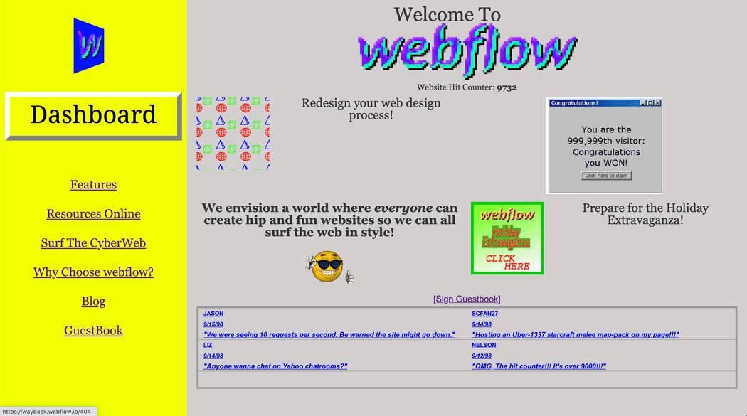 90's Webflow Homepage