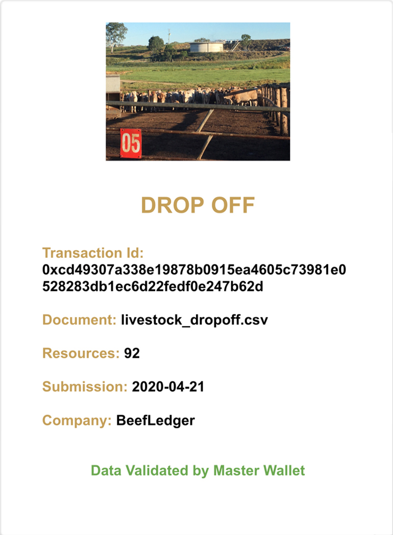 Event 6 document in blockchain - drop off abattoir