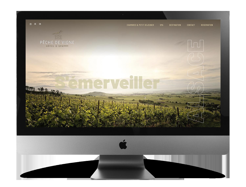 Erstellung der Website für das Hotel Pêche de Vigne in Rodern, Elsass, Frankreich.