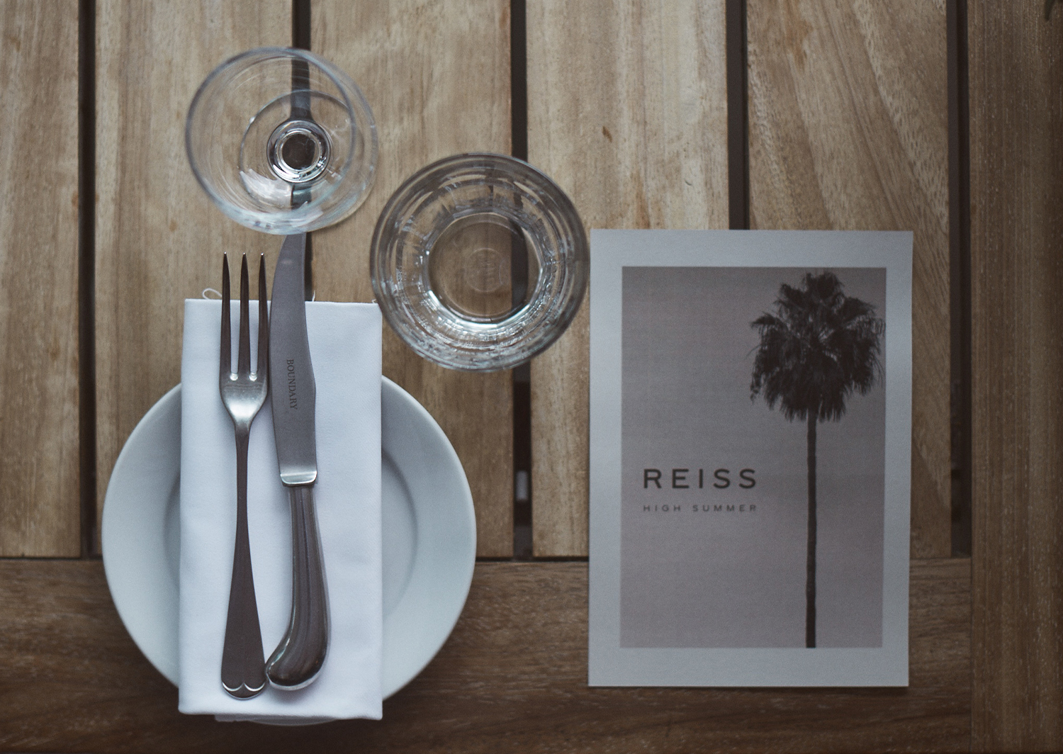 Image of a table setting with a flyer