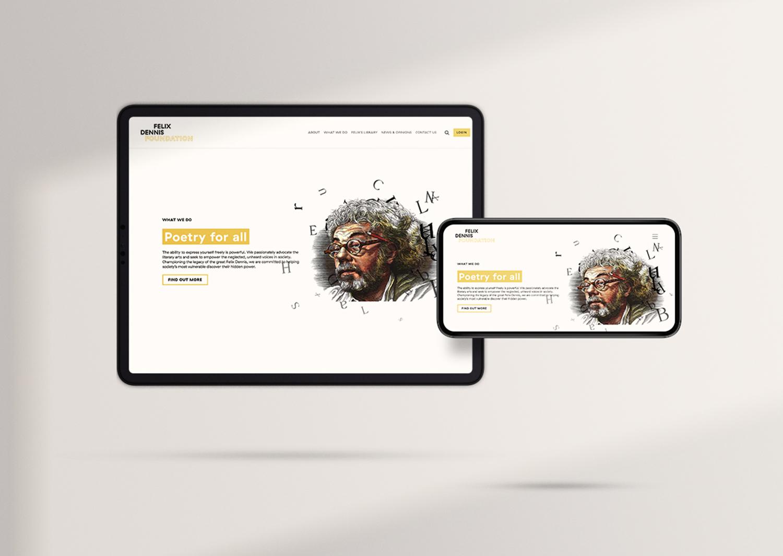 Felix Dennis Foundation tablet and iPhone website