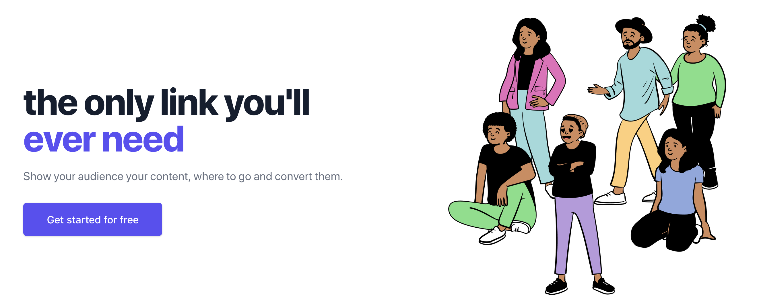 Dimelo.at is the only link you'll ever need. Show your audience your content, where to go and convert them.