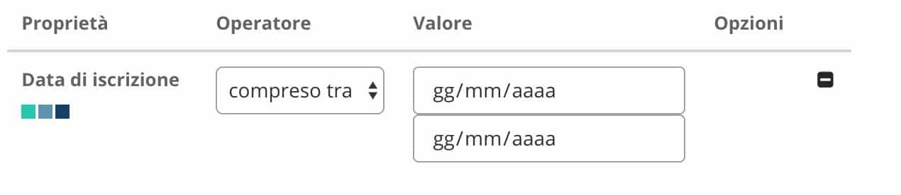 segmentazione utenti - data iscrizione