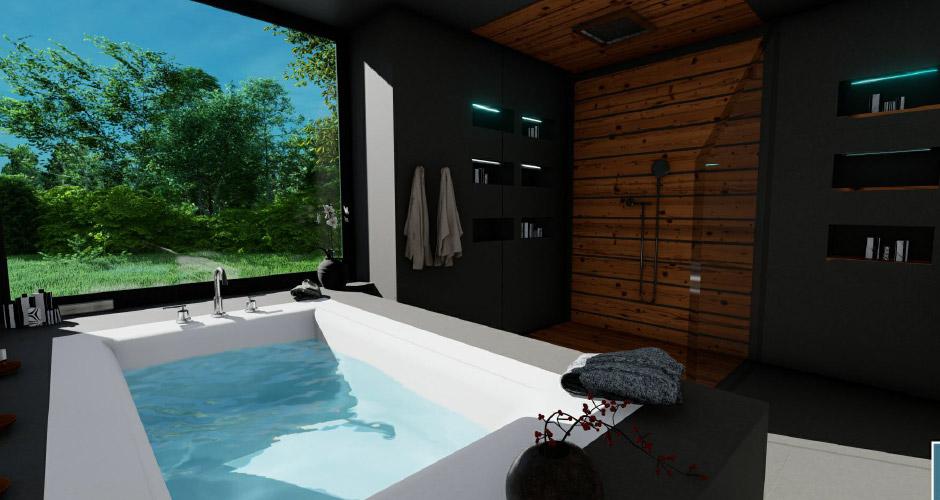 Salle de bain S. Das Eternit-Badezimmer
