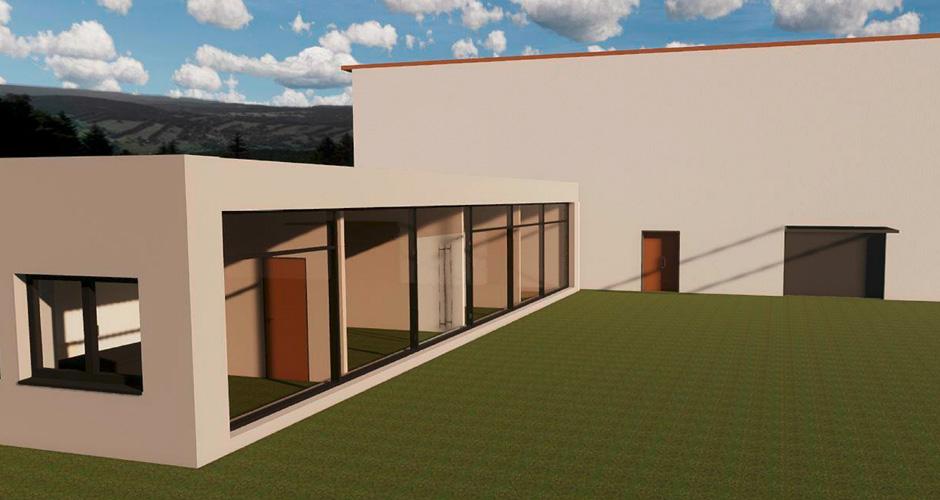 Bürogebäude und Lagerhalle
