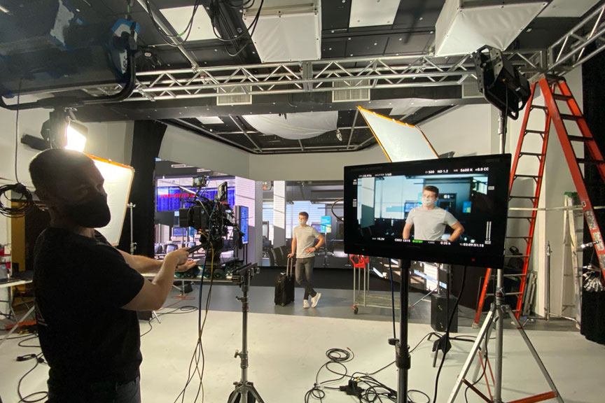 Behind the scenes photo of a virtual production set