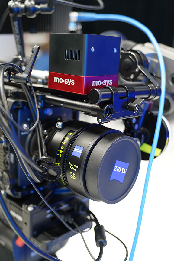 Up close shot of a Zeiss camera and Mo-sys camera tracking