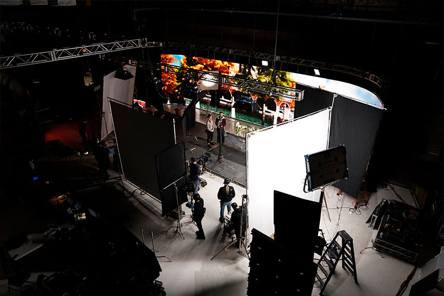 Overhead image looking down on a virtual production stage.