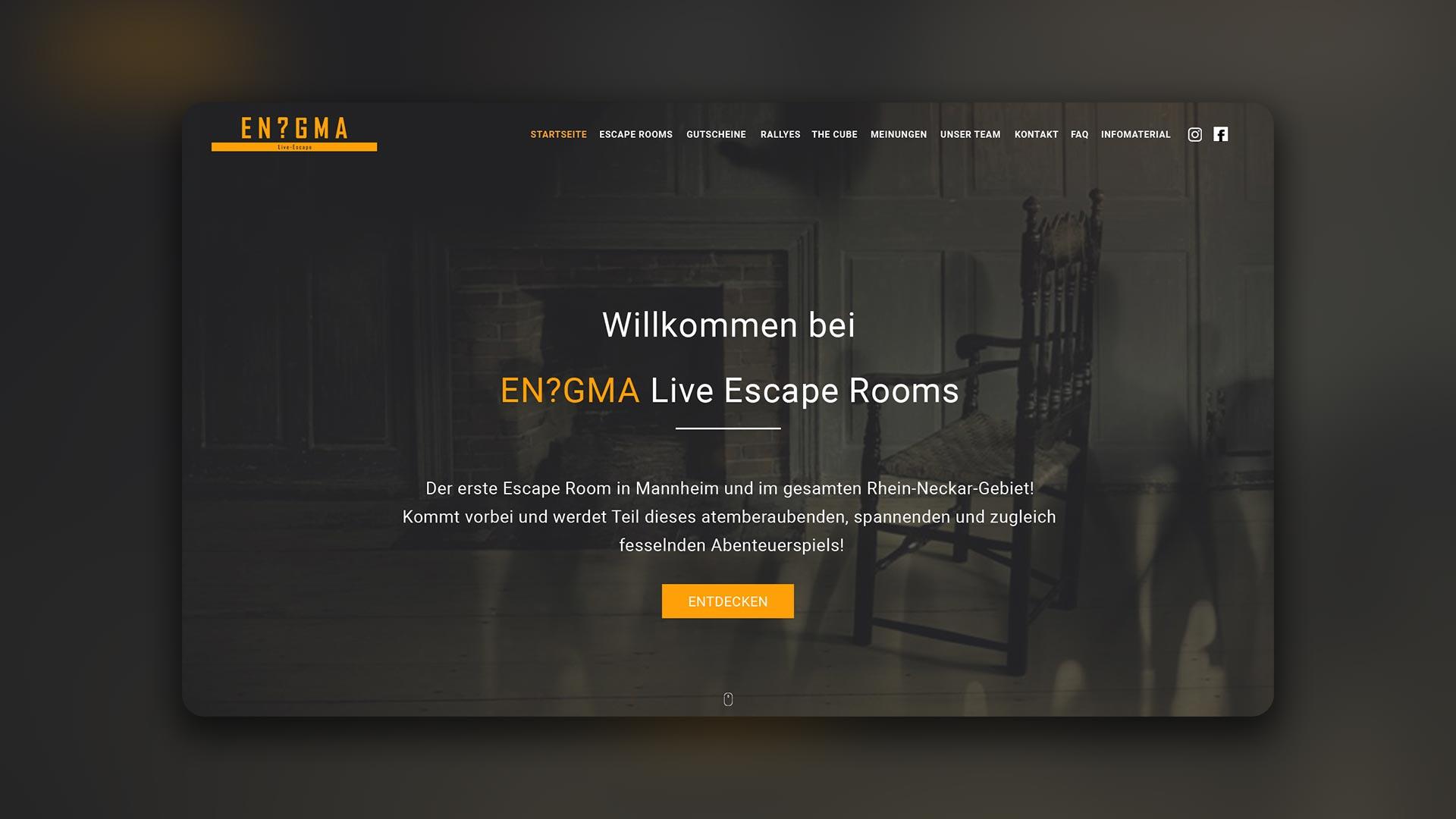 Mischler Webdesign Mannheim portfolio enigma webseite