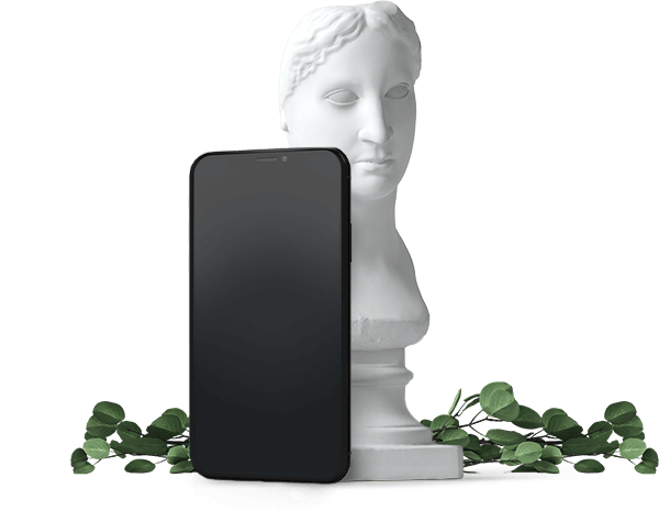 Mobile phone with statue. Sign up in secons.
