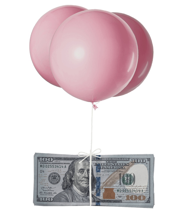 Balloon with cash. Access to cash.