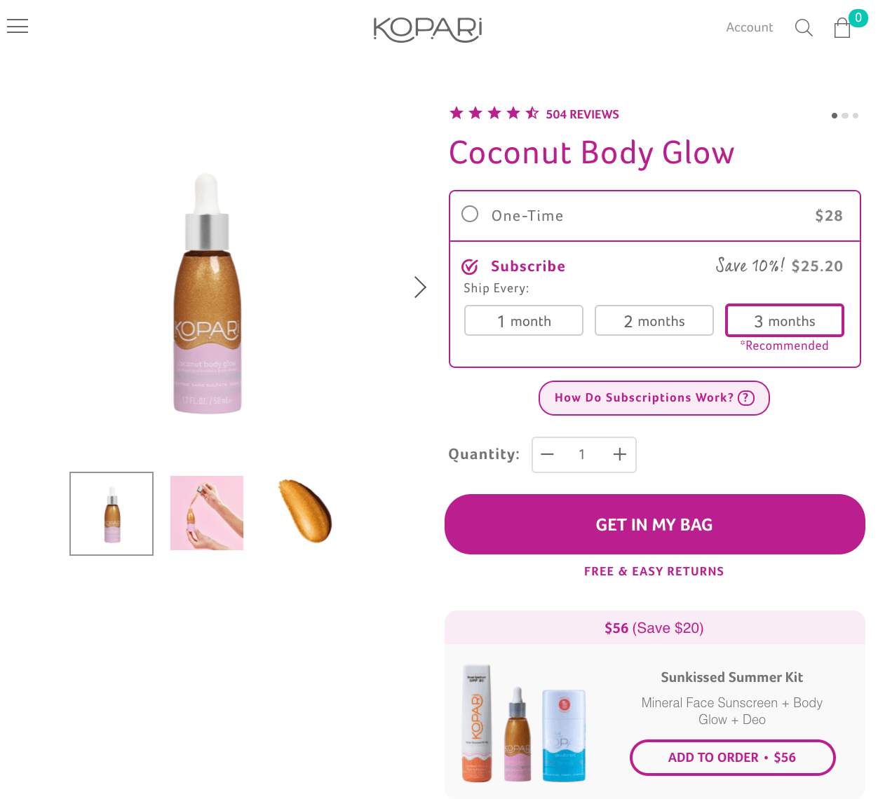 Kopari Beauty offers replenishment subscriptions to individual products.