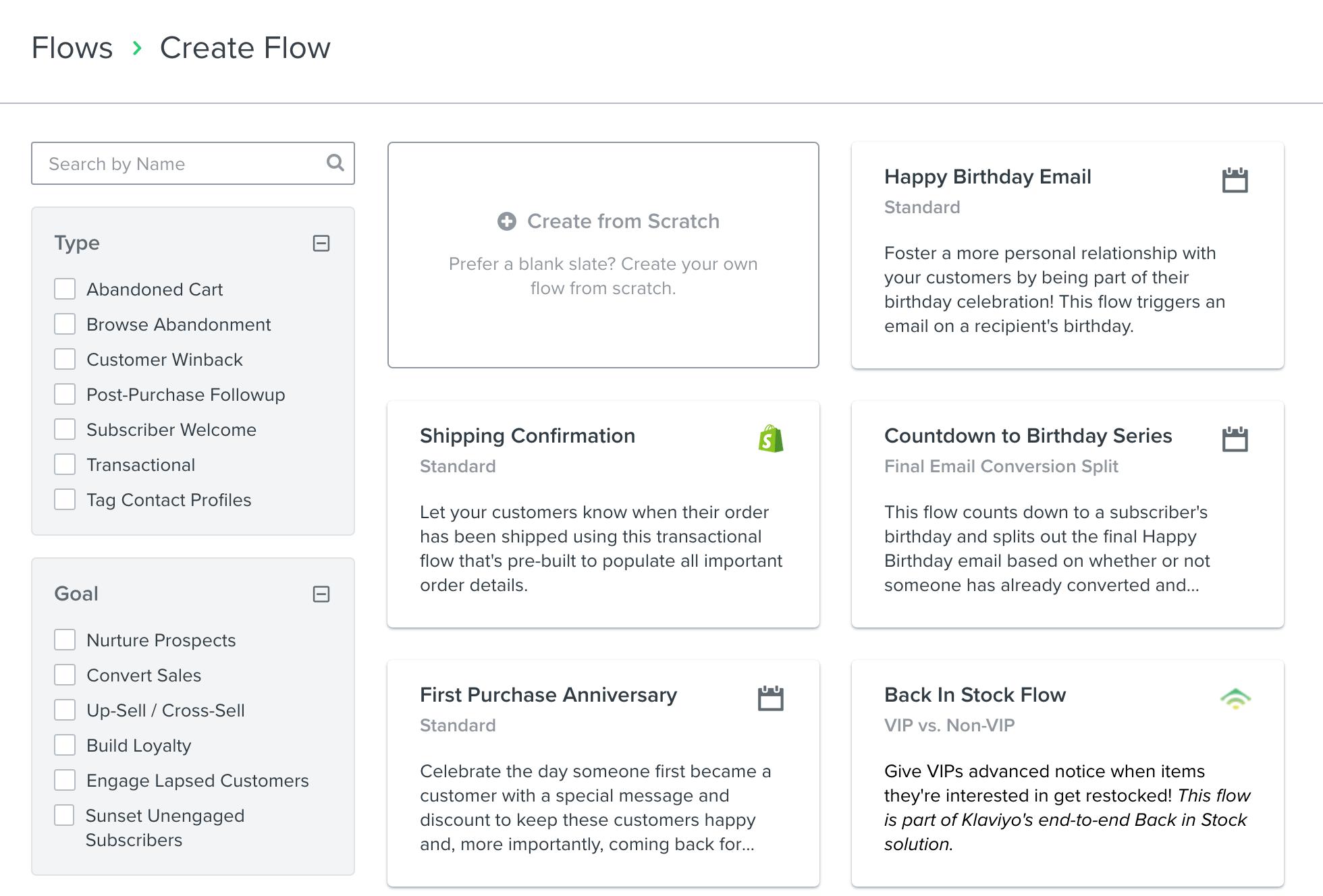 Some of Klaviyo's flow templates.