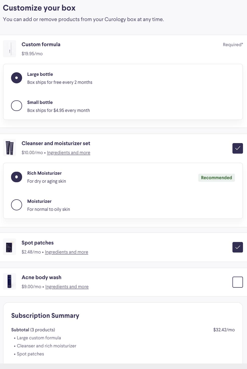 Curology's subscription management platform.