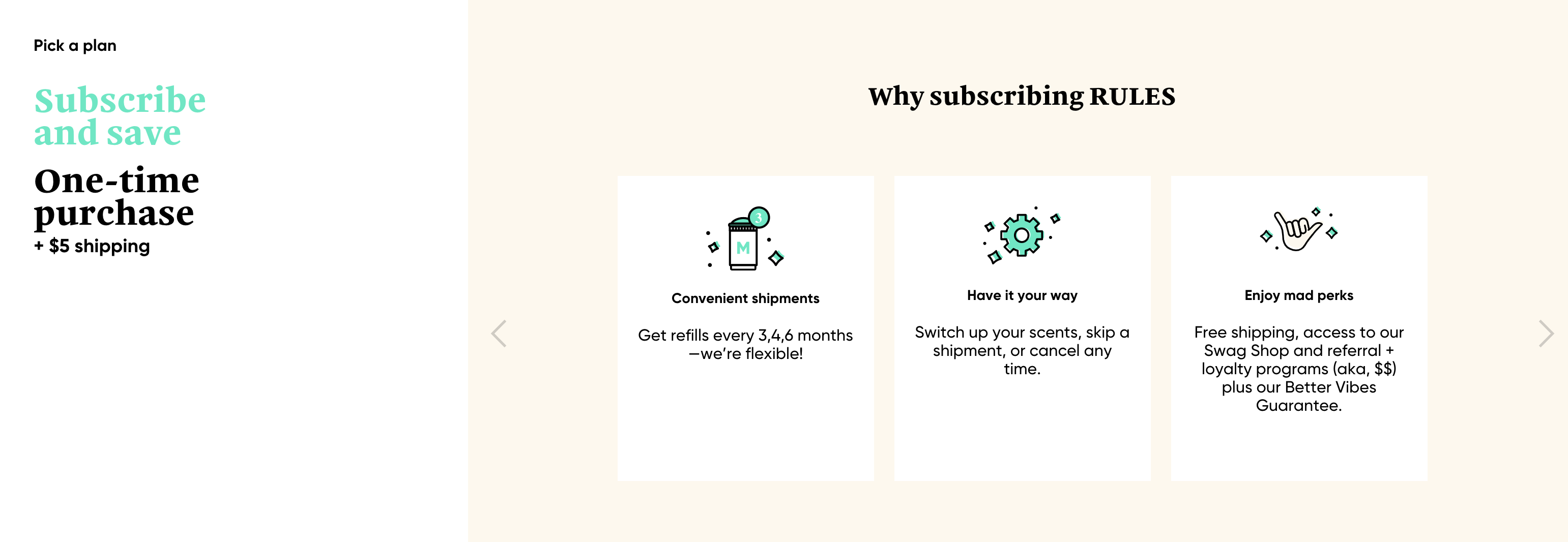 Step 3 in Myro's sign up flow is the choice to subscribe or make a one-time purchase.