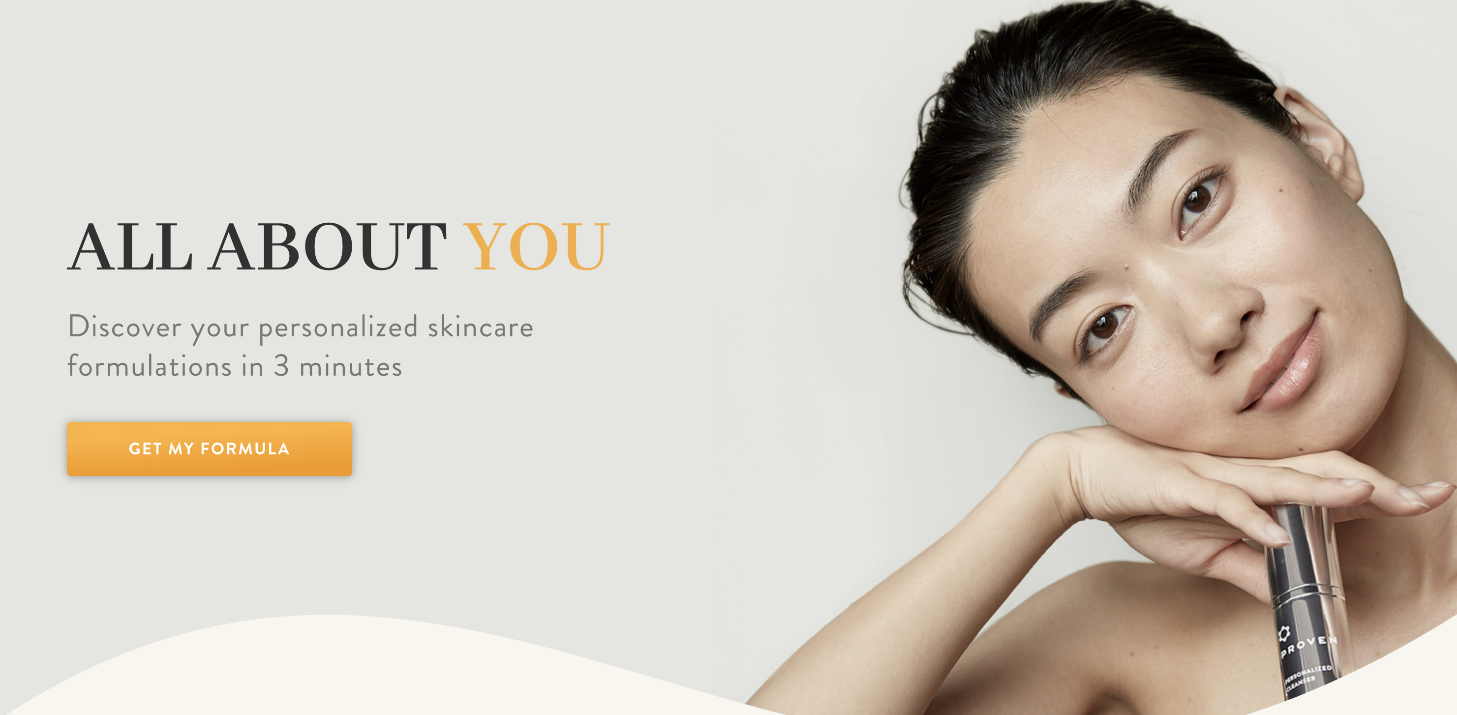 The top hero image on Proven Skincare's website.
