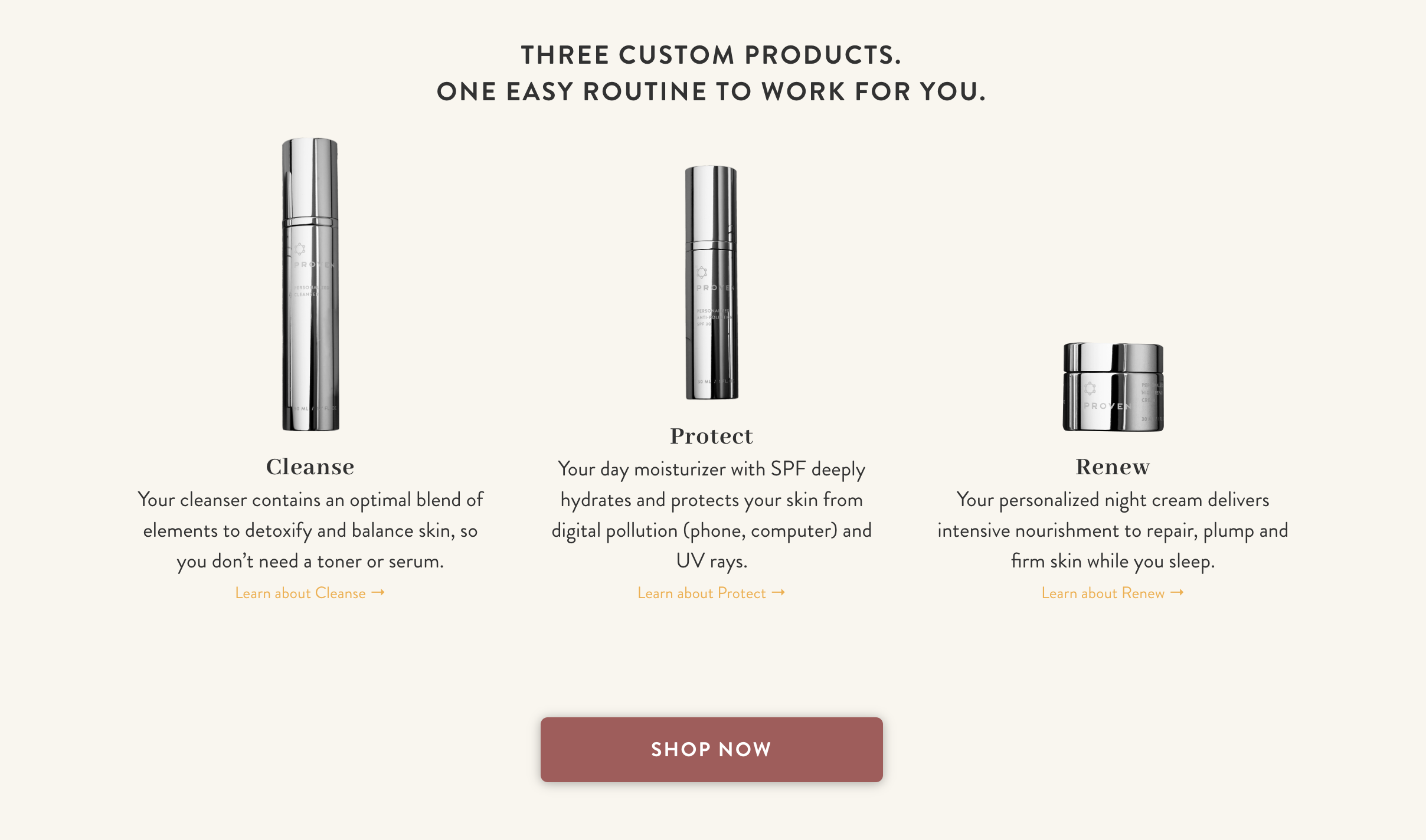 Proven Skin Care's customizable 3-step skin care routine featured on their homepage.
