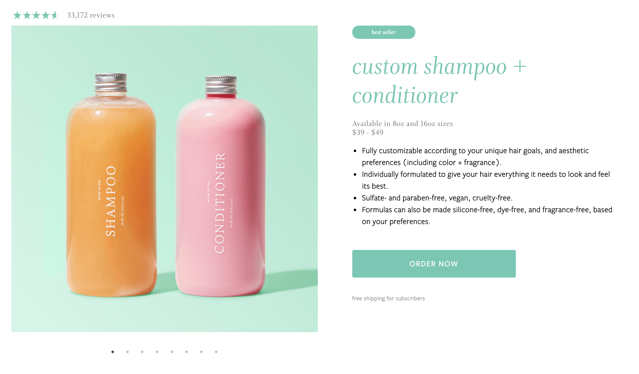 Function of Beauty's custom shampoo and conditioner product detail page.