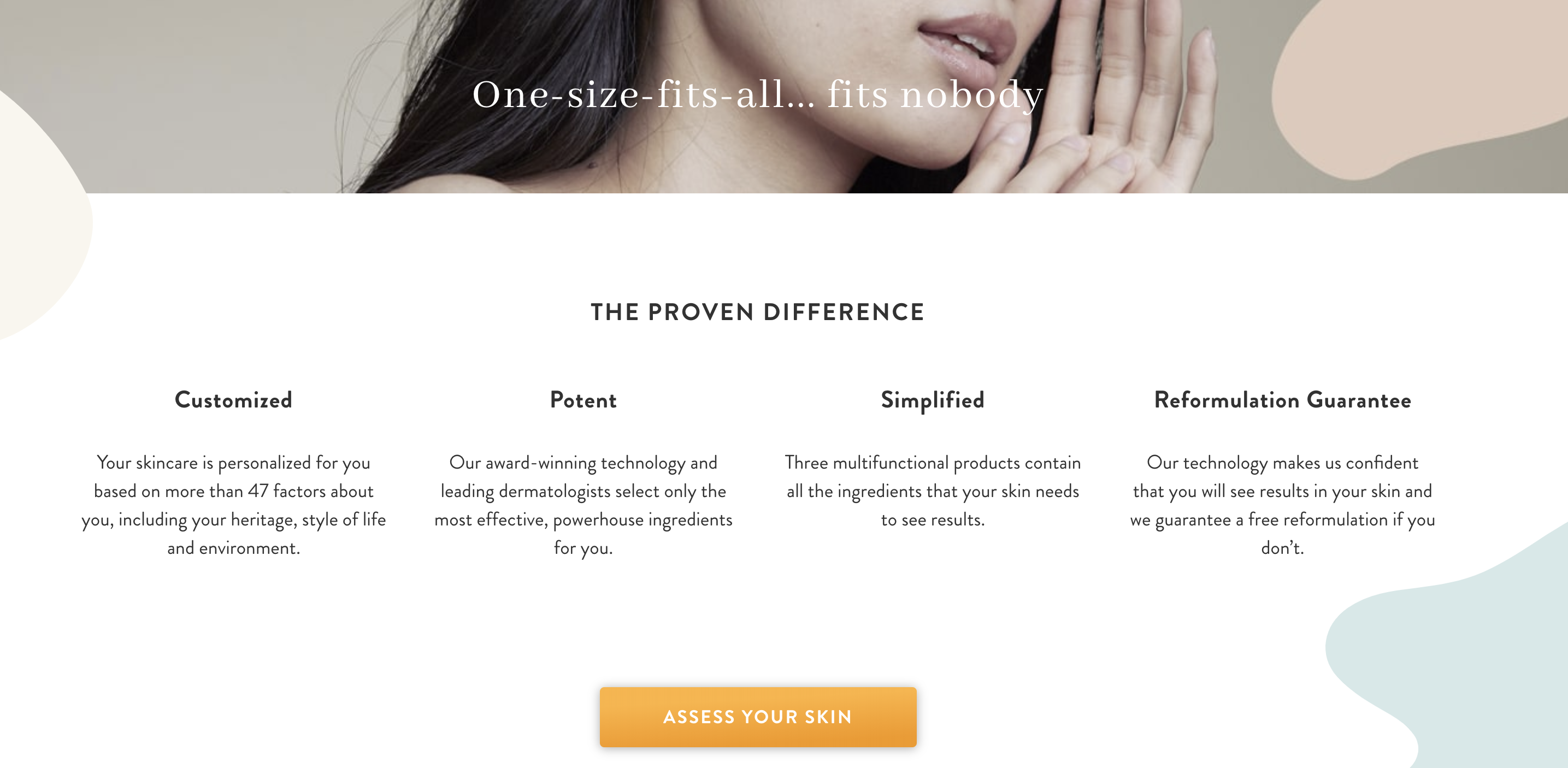 The value propositions Proven Skincare lists.