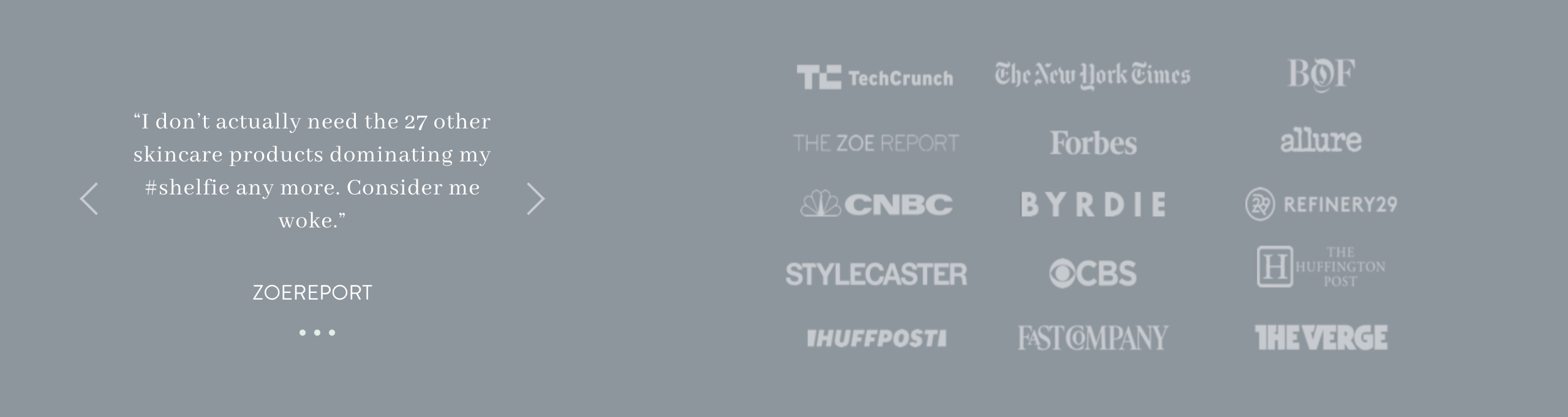 Press logos of articles that feature Proven Skincare.