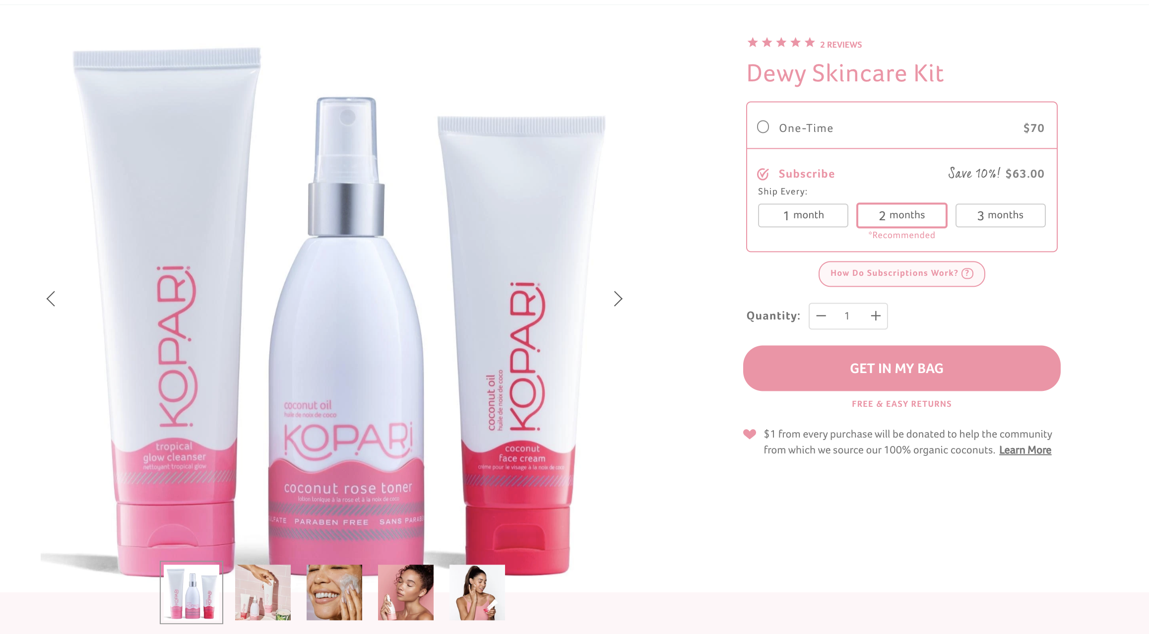 Kopari offers subscribers a 10% discount on products.