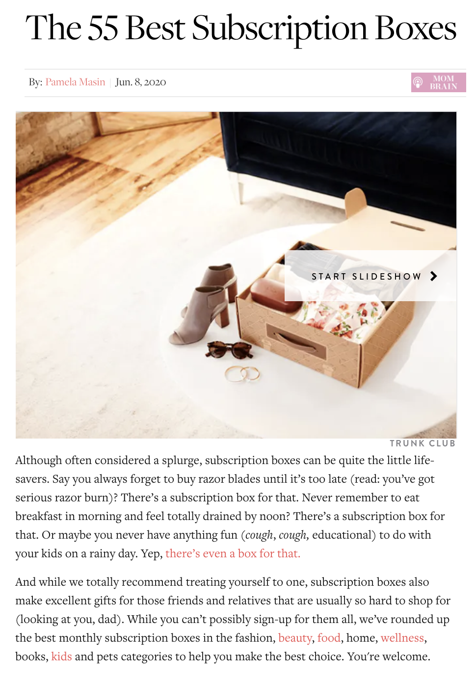 """A PR piece from PureWow featuring Birchbox as one of the """"55 Best Subscription Boxes."""""""