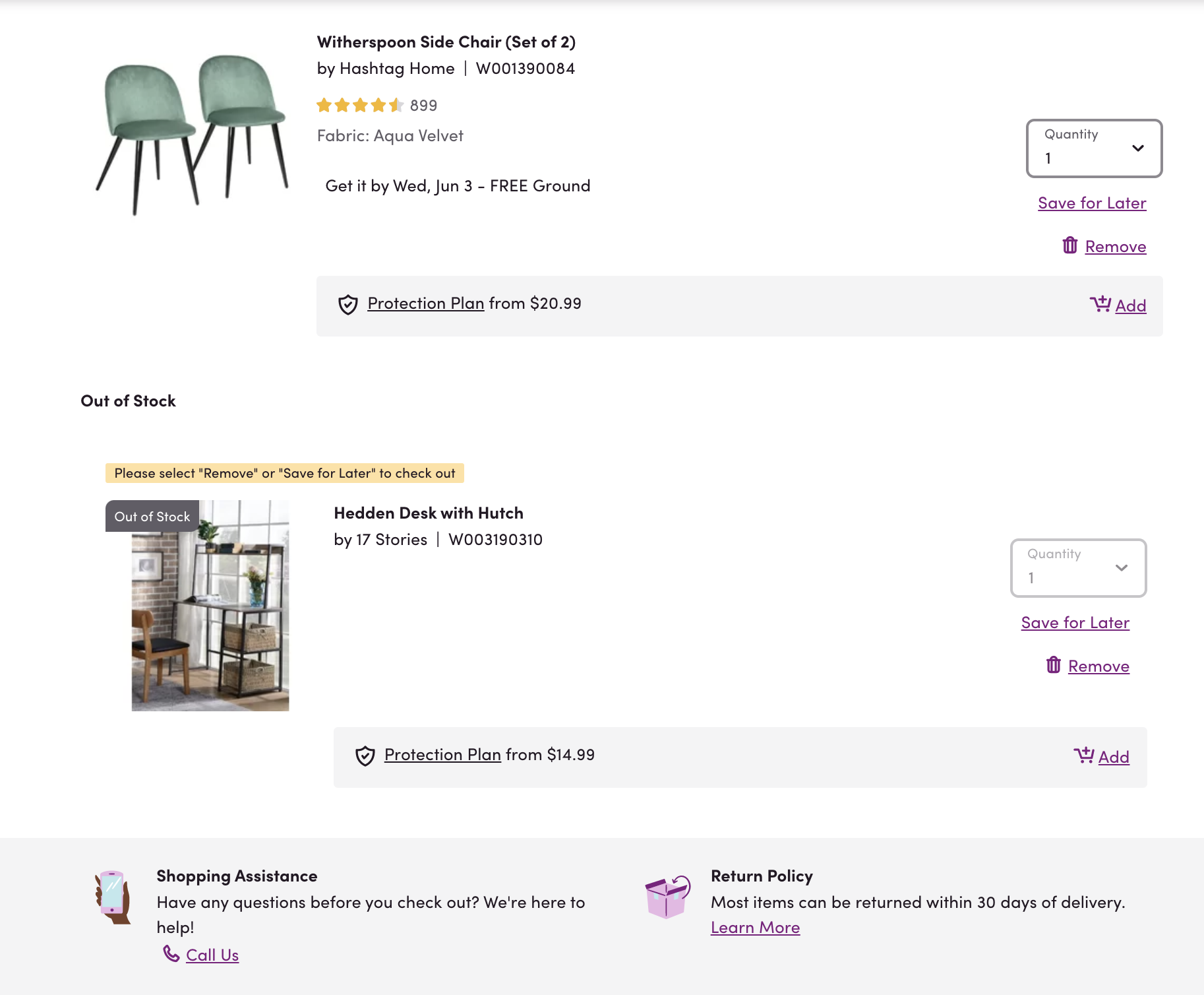 """Our employee's recent Wayfair cart with """"Shopping Assistance"""" clearly displayed below the cart."""