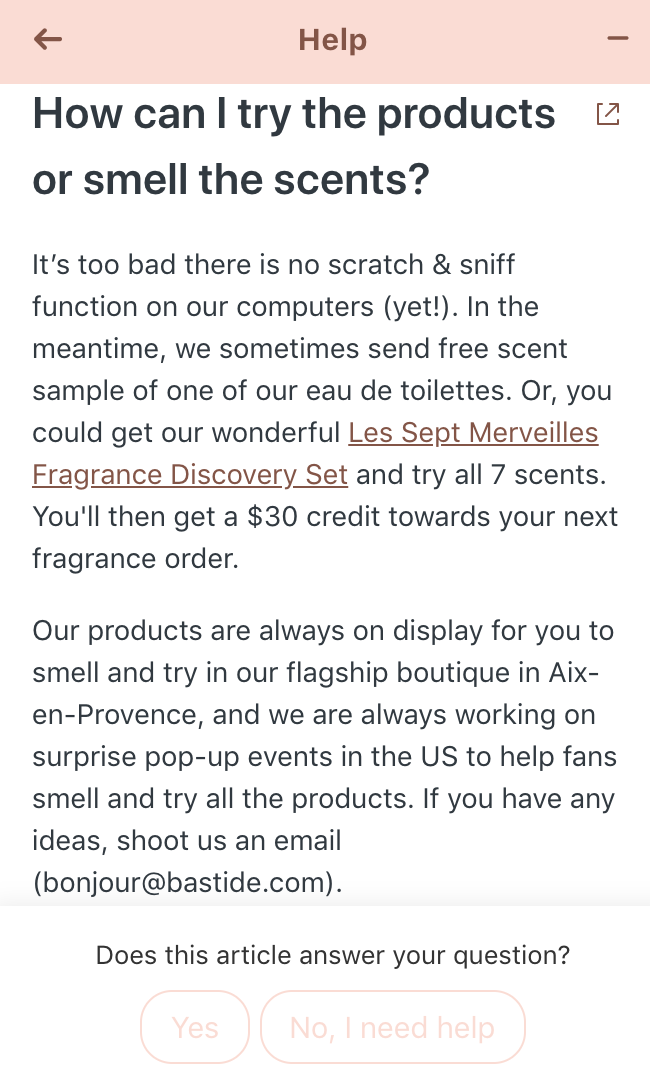 Bastide's chatbot makes relevant product suggestions based on our shopping-related question.