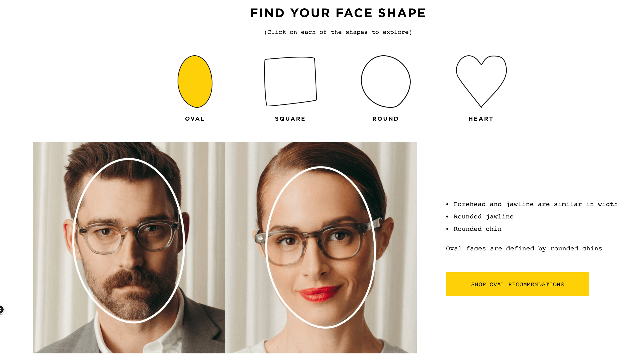 Moscot provides a page dedicated to finding the right style for each consumer, including tips about face shape and the bridge style of each pair of glasses.