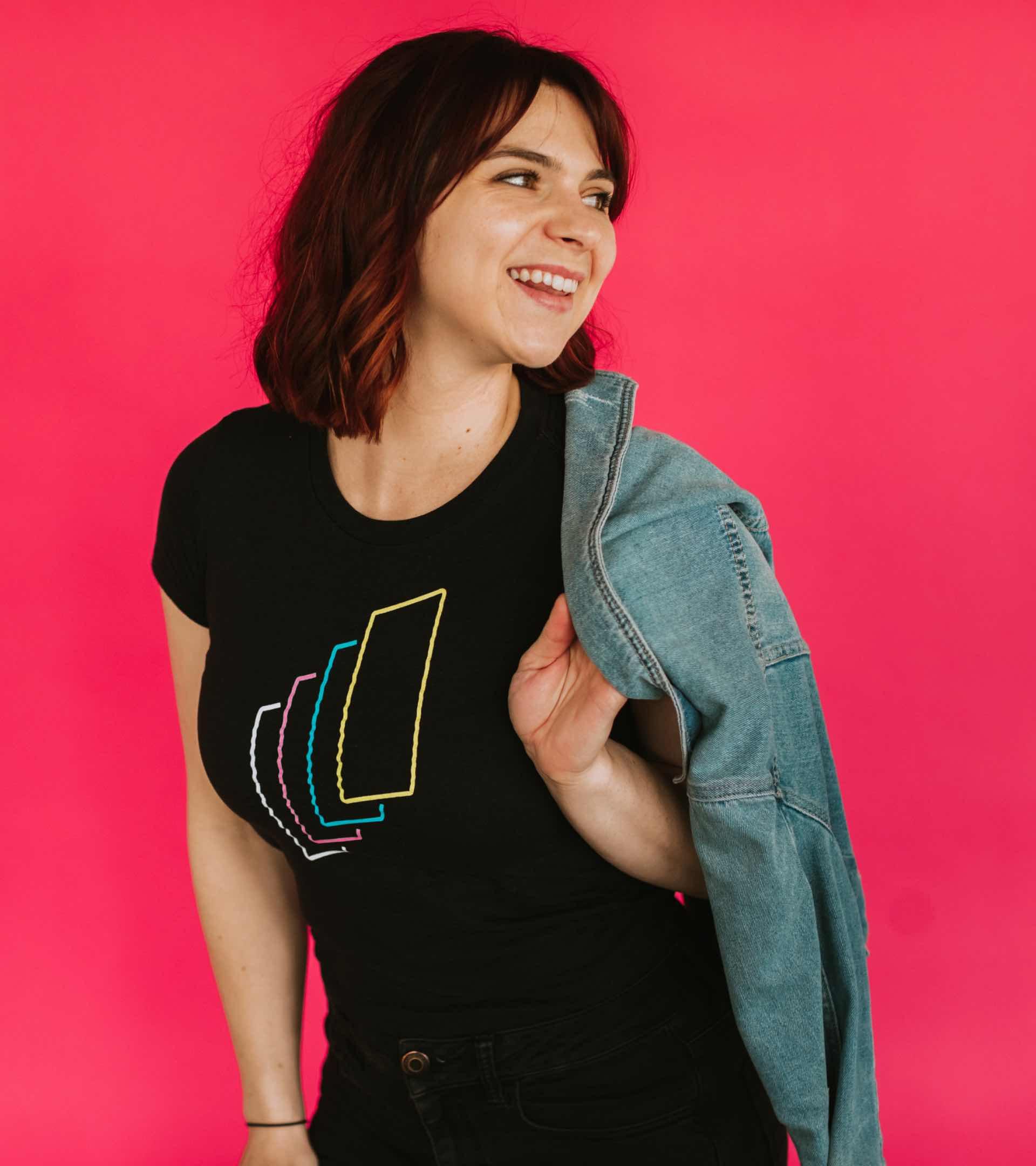 Photo of Carly wearing a Studio 8E8 te-shirt