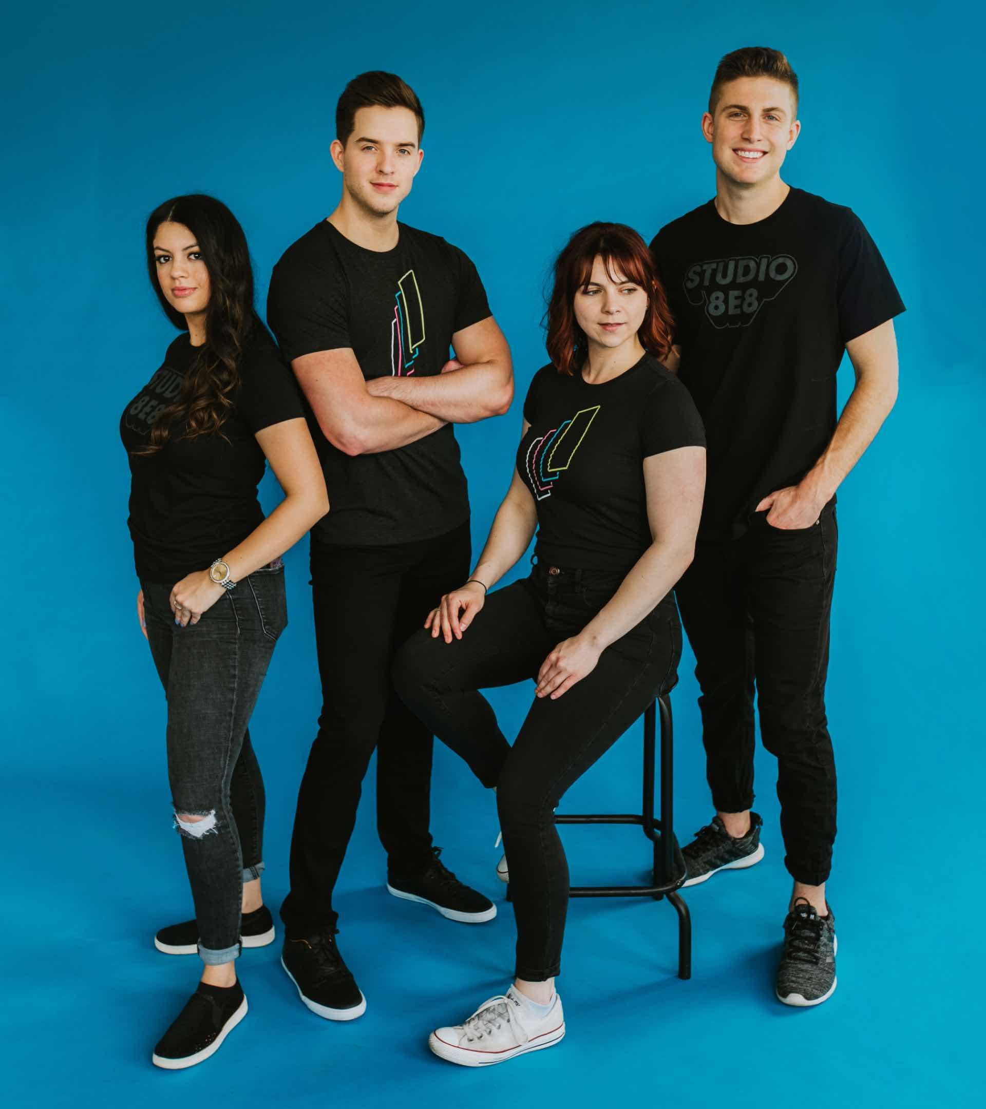 Photo of the S8E8 dental marketing team wearing company shirts