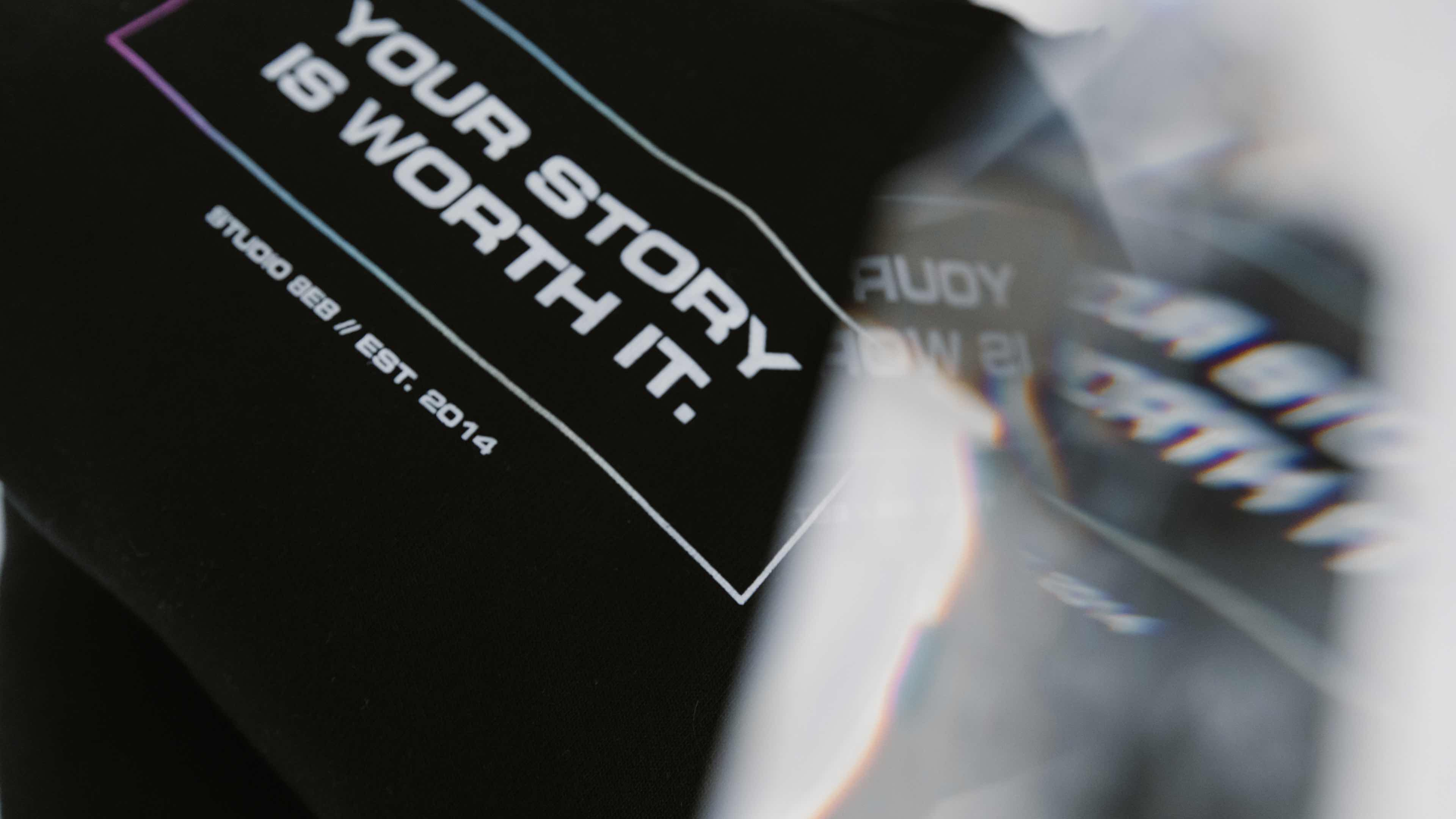 """Close-up photo of our """"your story is worth it"""" crewneck sweatshirt"""